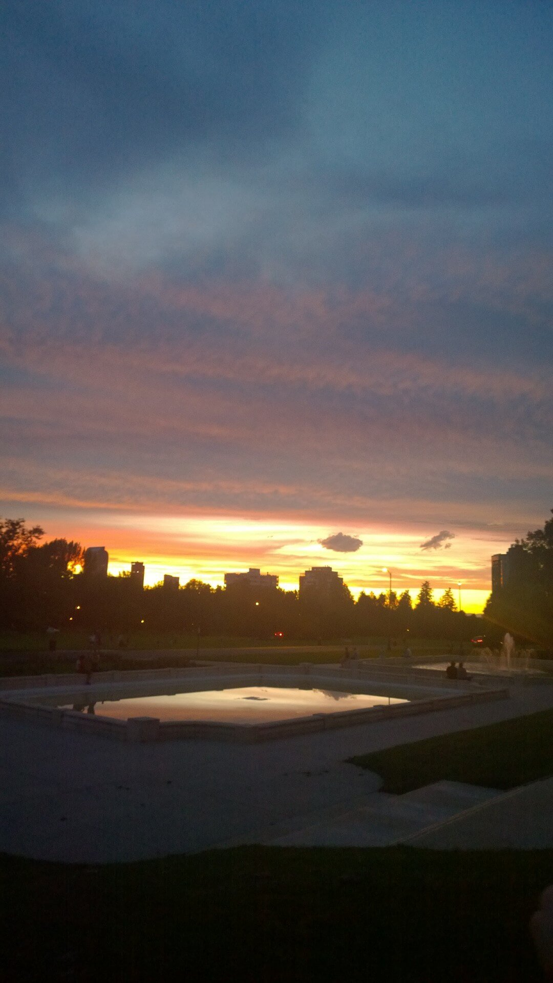 Sunset over Cheesman park