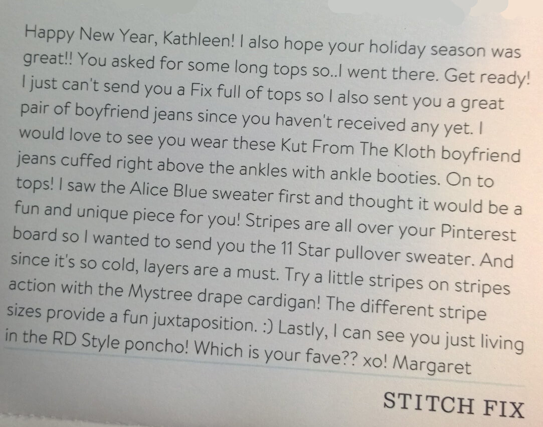 Stitch Fix Stylist Note from Margaret